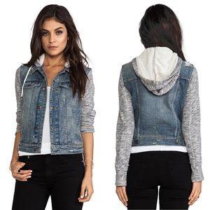 Free People Denim/Knit Hoodie Jacket Size XS